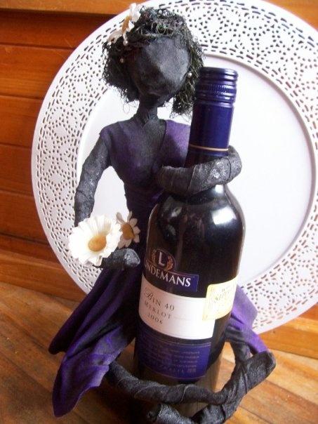By Jeanelle Downey   Powertex Wine  Bottle hugging lady