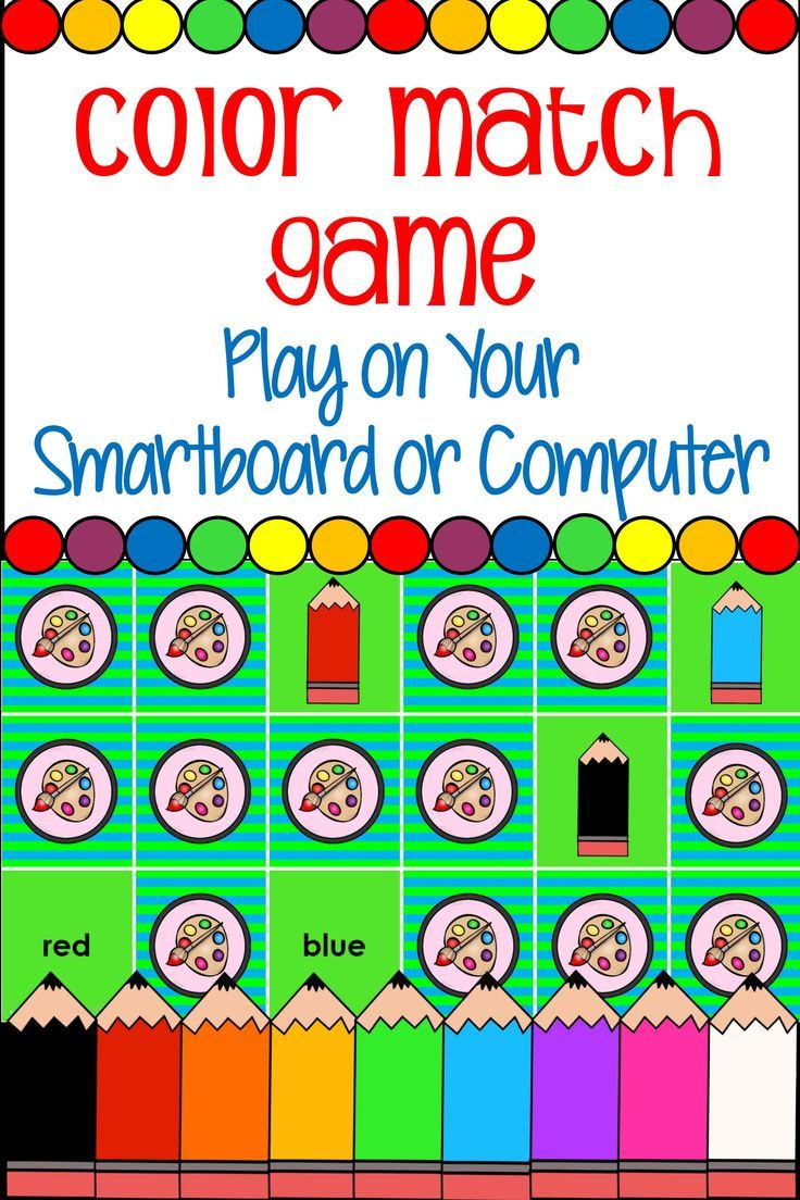 Color Match Game For Whiteboard Or Computer Matching Games Smart Board Games