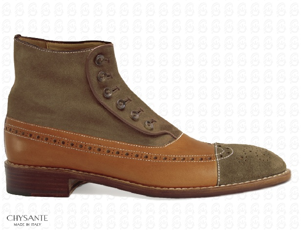 """Mod. BUTTON BOOTS  in """"full grain"""" calfleather  chestnut brown colour  combined with suede leather  mink colour. Particular  seams in contrast.  Sole and heel in hide."""