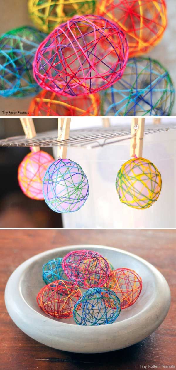6. String Easter Eggs ----- DIY Easter Eggs Tutorials