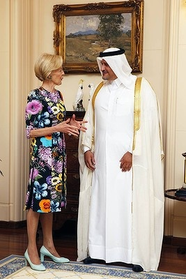 The Governor-General Quentin Bryce received her 100th Letter of Credence from the Qatar ambassador Yousef Ali Al-Khater.