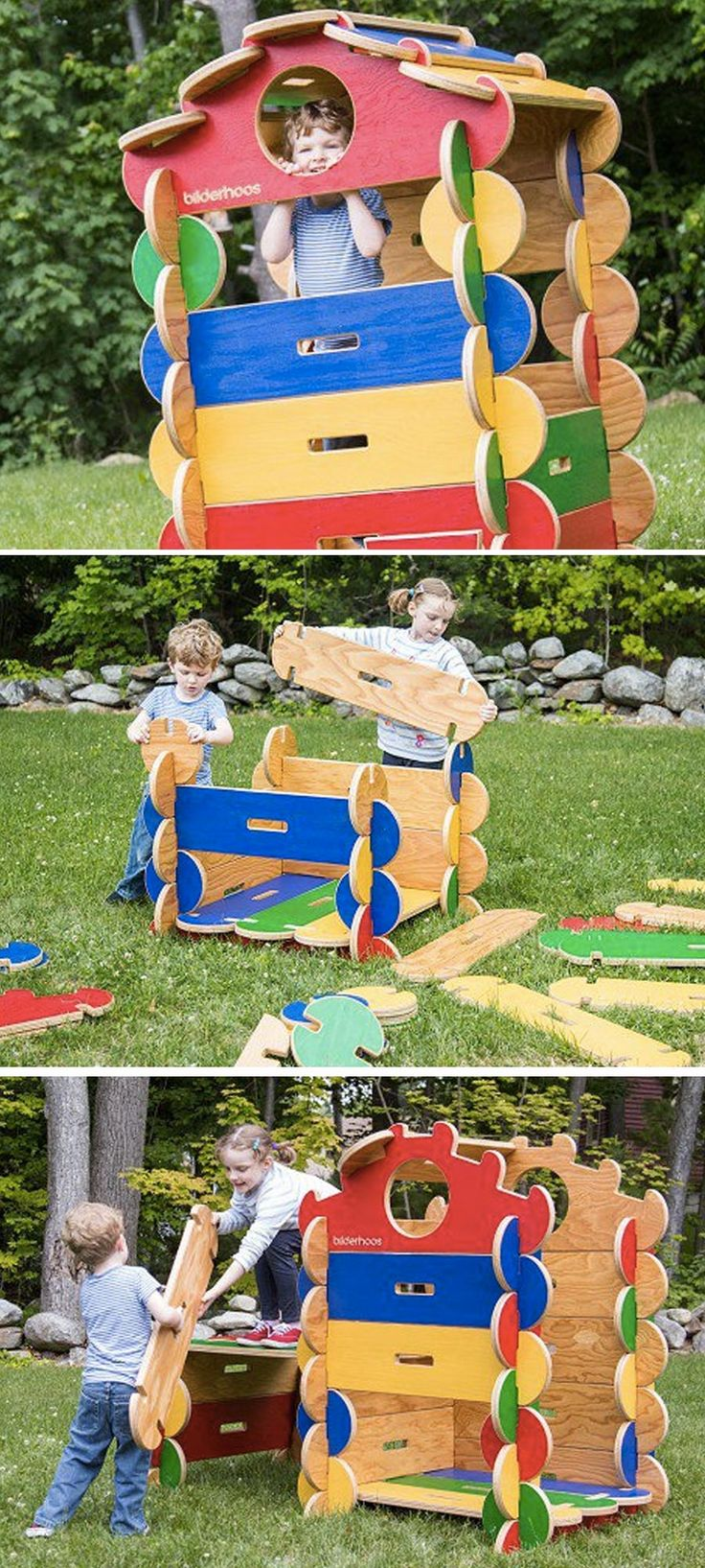 Bilderhoos building sets are handcrafted in the U.S. of sustainable wood. They're easy for kids to assemble into life-sized forts, houses, stores, whatever their imaginations can think up.