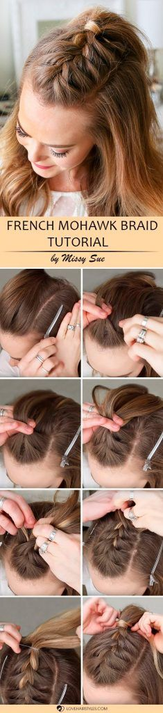 Would you like to learn how to French braid? Then you have definitely come to the right place. We have some simple tutorials that will help you master this type of braid even if you are an amateur at braiding. Just a little practice and some patience, and you will succeed! French Mohawk Braid #hairstyles #braidedhairstyles #frenchbraid