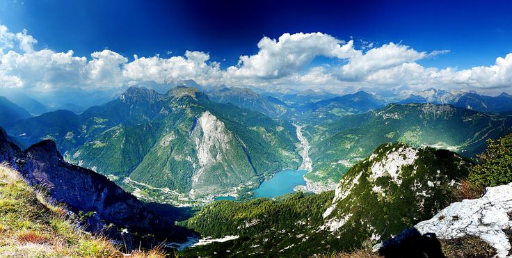 Taken from #Rifugio Tissi atop Monte Civetta in the Northern Italy province of Belluno. In the distance lies the village Alleghe, Lake Alleghe and the Civetta group between the valleys Cordevole, Val Fiorentina and Val di Zoldo.