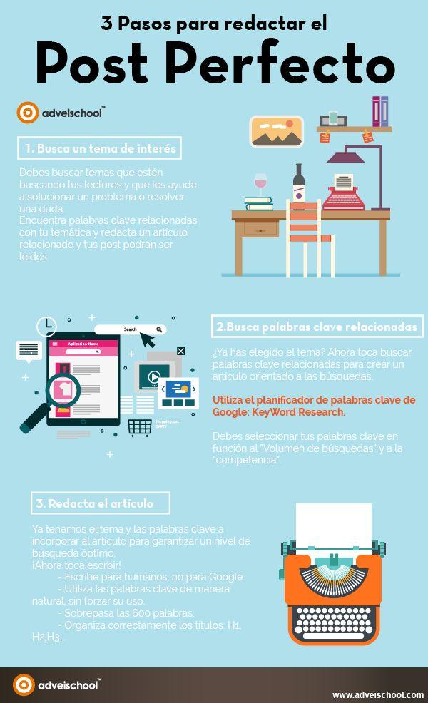 3 Pasos para redactar el post perfecto #infografía #infographic #SocialMedia
