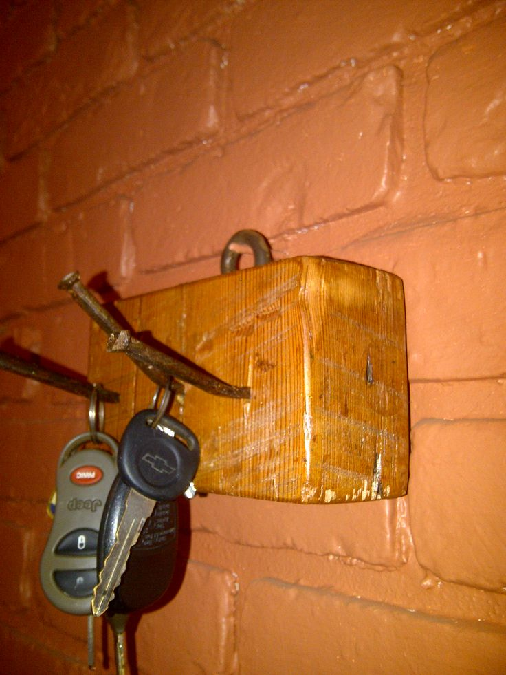 Reclaimed 100+ building lumber and nails turned into a key holder