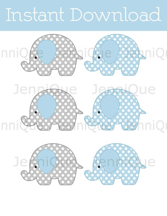 Decoraciones imprimibles Mini elefante elefante bebé ducha