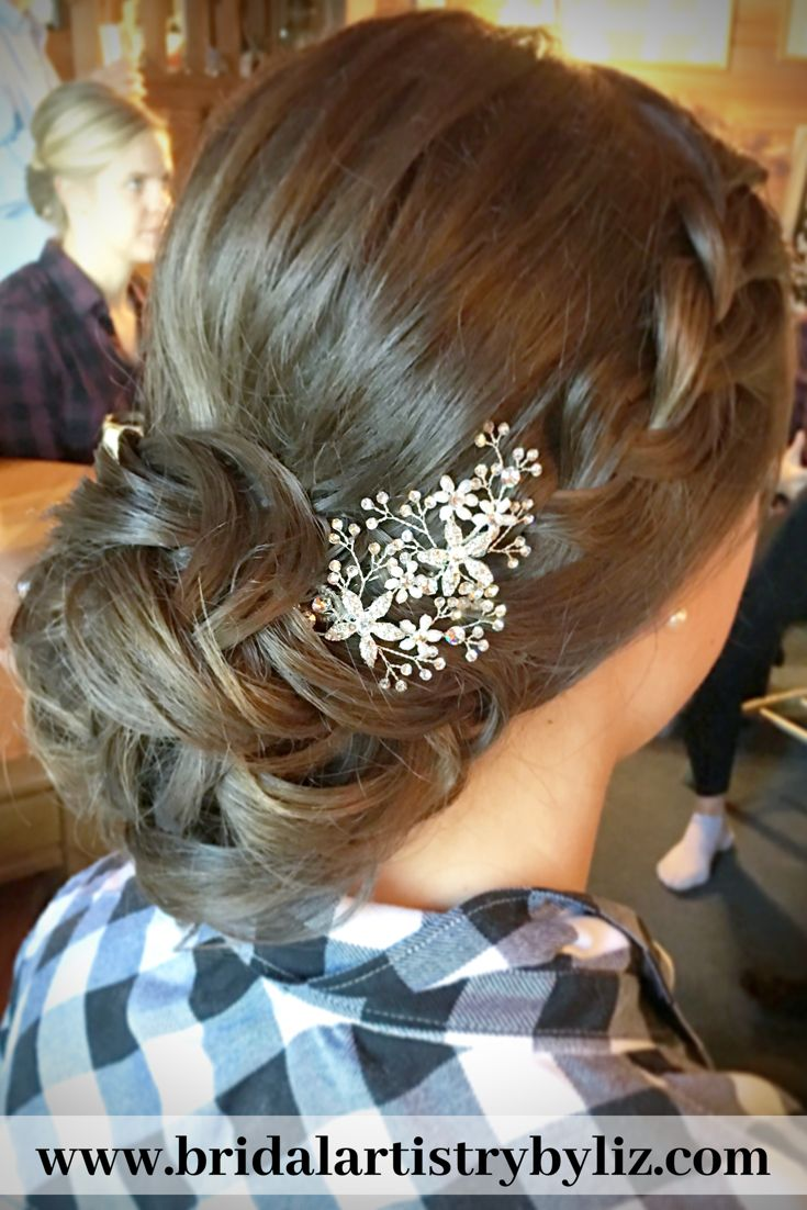 Elegant Bridal Low Bun Updo With Braid Hairstyles For Gowns Low Bun Bridal Hair Low Bun Updo