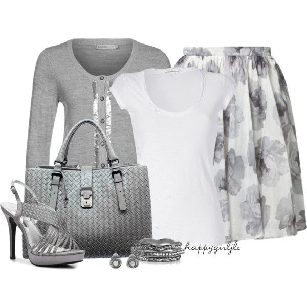 Pleated Skirt~Grey Mist by happygirljlc on Polyvore featuring James Perse, Soaked in Luxury, Carin Wester, De Blossom, Bottega Veneta, Belle Noel by Kim Kardashian and Ten Thousand Things
