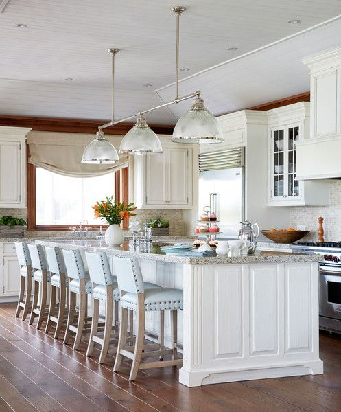 A sizable island grounds this lakeside kitchen with pale blue bar stools  and white cabinetry 135 best Dream home   kitchen images on Pinterest   Kitchen ideas  . Lakeside Kitchen Design. Home Design Ideas