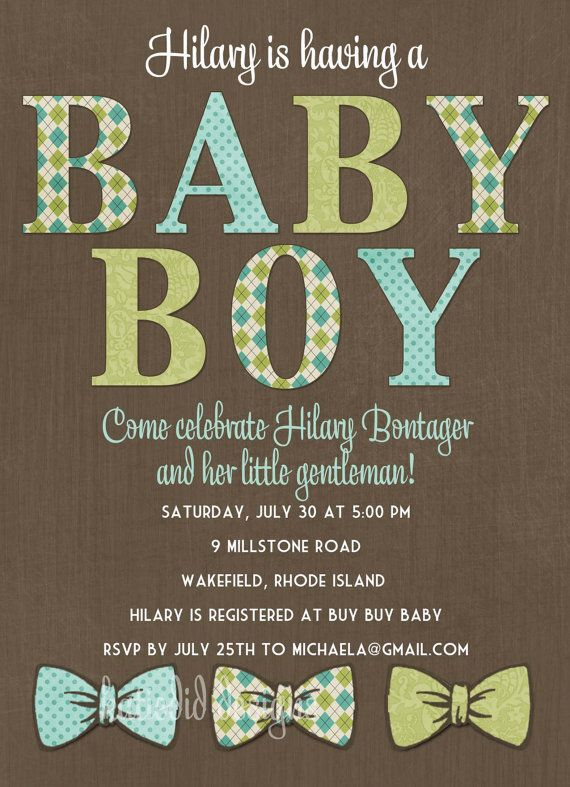 Baby boy shower invitation baby boy with bow by katiedidesigns, $13.00