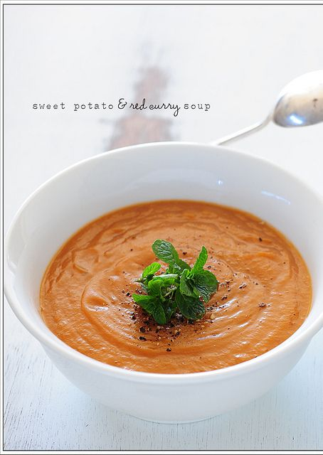 2lb sweet potato chopped; 1 can coconut cream or milk (14oz); 4 T red curry paste; 2 T fish sauce; 4 cups water; mint or coriander (cilantro) leaves, to serve, optional.  1) Combine. 2) Simmer ~30min. 3)Puree.
