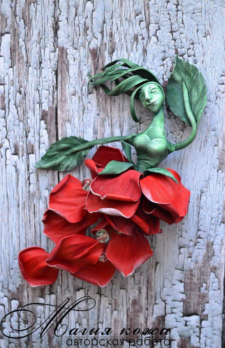"""Купить Брошь из кожи """"Фламенко на ветру"""" - ярко-красный, кармен, Испания, роза из кожи"""