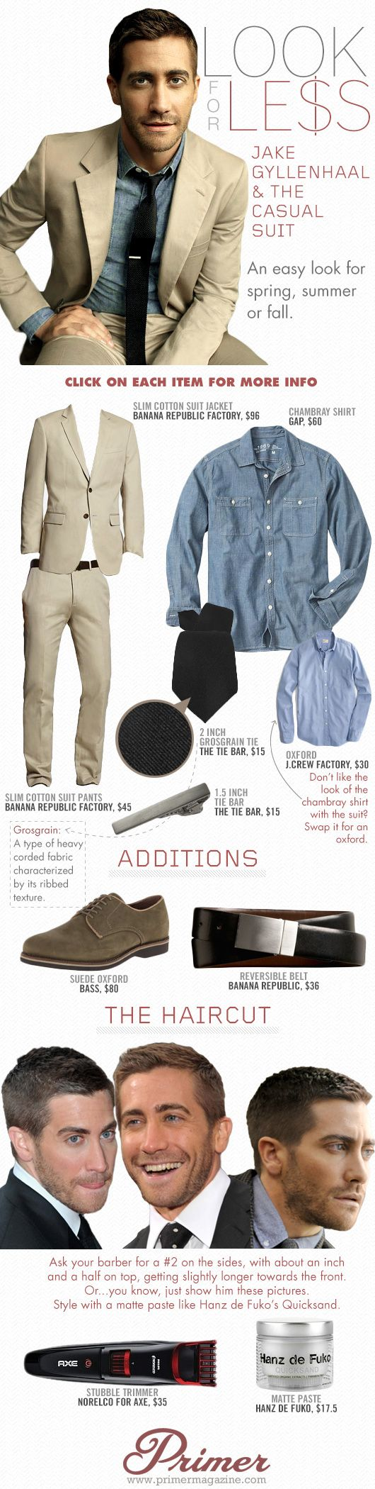 Look for Less: Jake Gyllenhaal & The Casual Suit - Primer #men #fashion