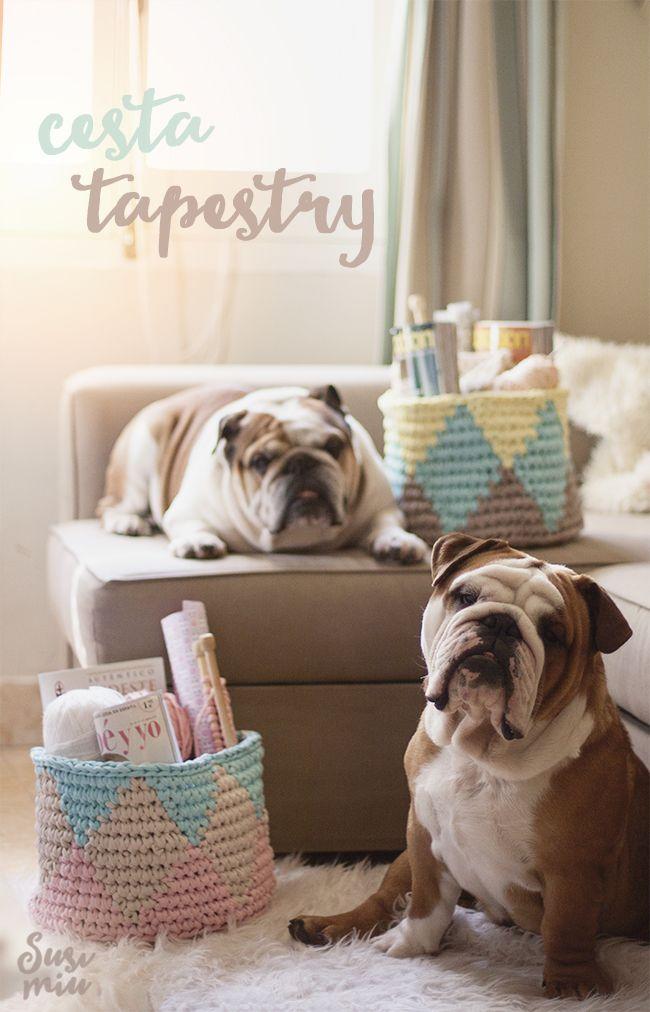 Cestos de Trapillo hechos con técnica Tapestry www.susimiu.es