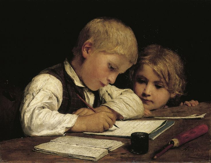 "https://flic.kr/p/xM6LXW | Albert Anker ""Boy writing with his sister II"" 1875 