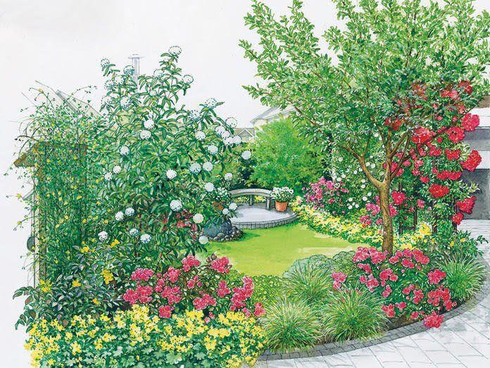 Terrasse mit wohnlichem Vorgarten Pflanzplan, Rasen und Ausdrucken - reihenhausgarten vorher nachher