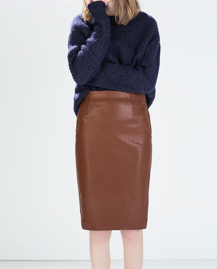 FAUX LEATHER PENCIL SKIRT $59.90