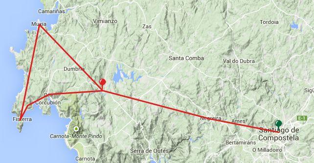 Viewranger Gps Routes For The Camino A Finisterre Or Camino A Muxia Santiago De Compostela Olveiroa Muxía Fisterra 5 Stages 147km Map Finisterra Santiago