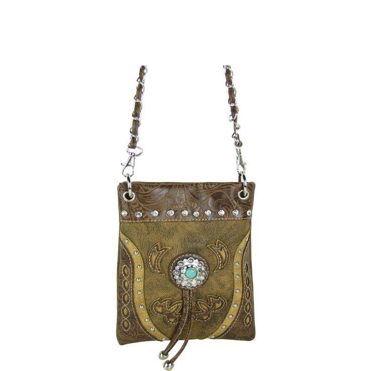Brown Rhinestone Flower Mini Messenger Bag Western Bling Cross Body Satchel