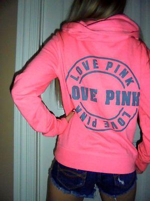 Pink-by-Victorias-Secret-pink-zip-up-gray-graphics-hoodie-sweatshirt-SMALL