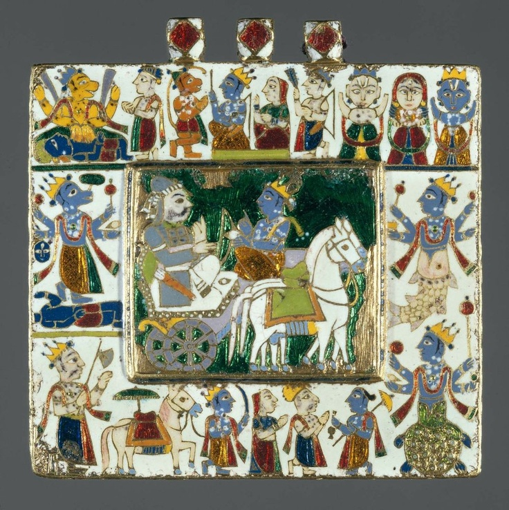 Pendant depicting the ten incarnations of Vishnu. Reverse, enamel and gold. Indian, circa 18th century.