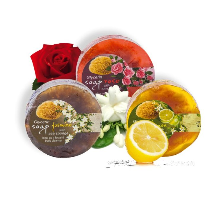 Glycerin soap with sea sponge / 100gr                                                                              Loofah glycerin soap with rose, jasmine or lemon essential oil  Ideal as a facial cleanser for women and as a shaving tool for men.