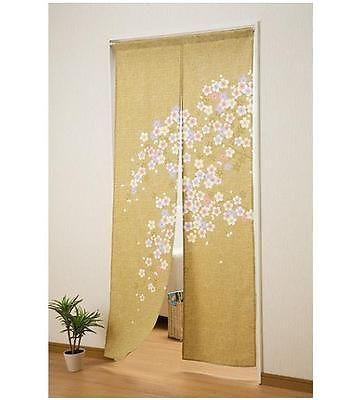 Marvelous Japan Cotton Pongee Cherry Blossoms Sakura Long Type Noren Curtain Olive  Color
