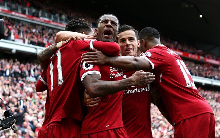 Download imagens Liverpool, Clube De Futebol, Sadio Mane, Philippe Coutinho, Daniel Sturridge, Premier League, Inglaterra, futebol