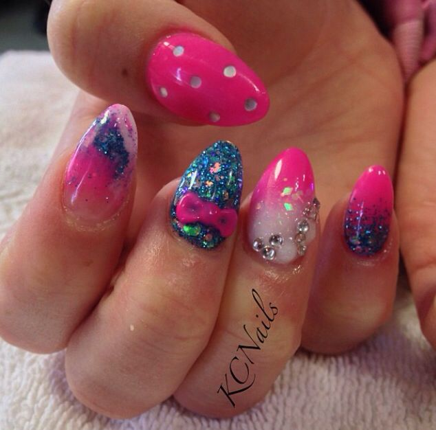 Two Tone Nail Polish Fade: Hot Pink, White & Blue Acrylic Nails. Marbled, Two Color