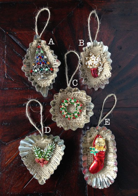 Vintage Jewelry Tart Tin Ornament  Christmas by HomespunKarma