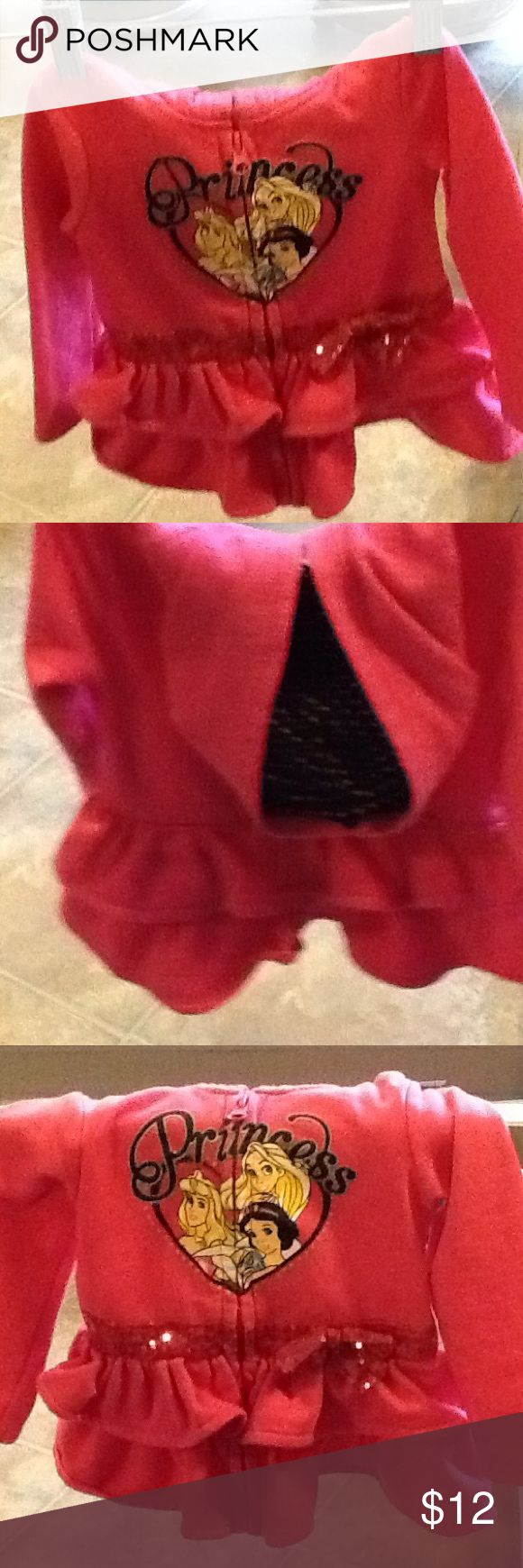 """Pink toddler Disney jacket that say """"Priness"""". This pink """"Princess"""" jacket from Disney has characters in the front. The hood is lined in pink and black poker dots. Disney Shirts & Tops Sweatshirts & Hoodies"""