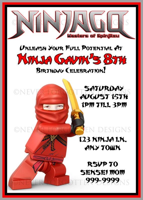 Custom Photo Kai Ninjago Birthday Party Invitations Where