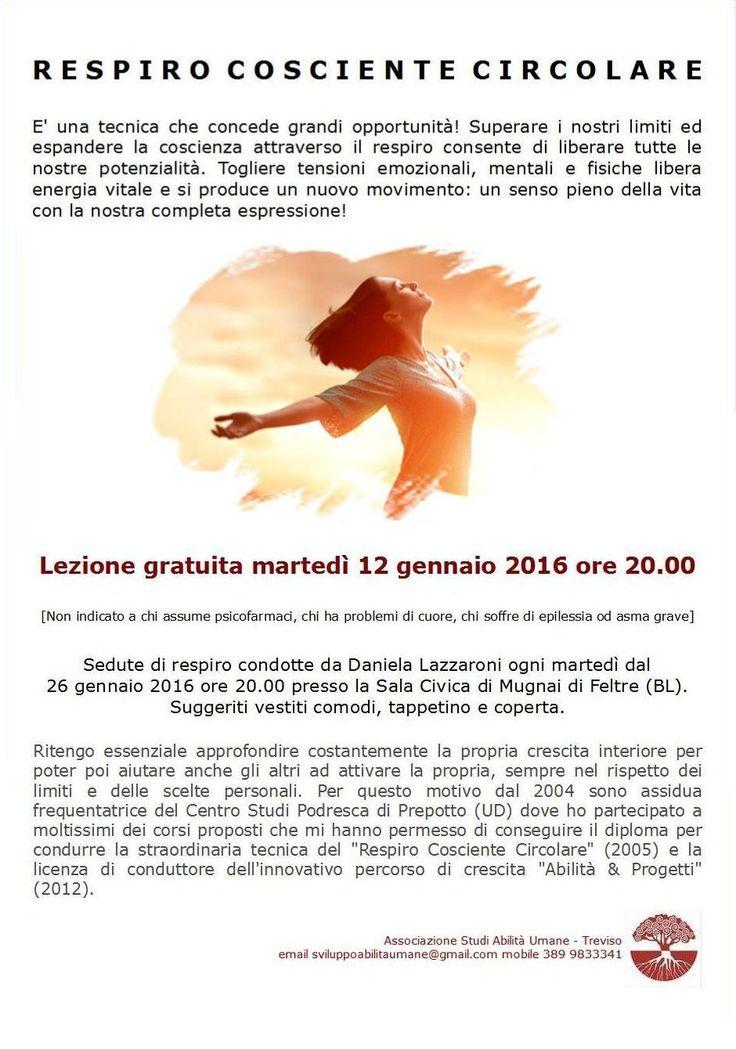 RESPIRO COSCIENTE CIRCOLARE A FELTRE MARTEDI' 12 GENNAIO 2016 ORE 20.00 - STUDI ABILITA' UMANE