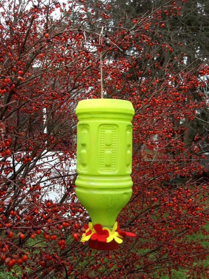 Hummingbird feeder from plastic bottle, re-purposed.