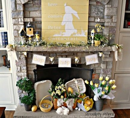 25 DIY Spring & Easter Mantels