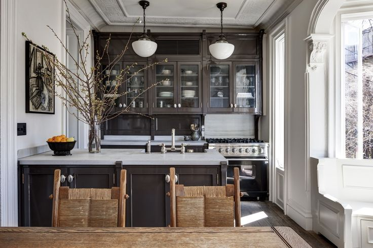 Chocolate & White Kitchen in this Brooklyn Brownstone [5615x3744] : RoomPorn