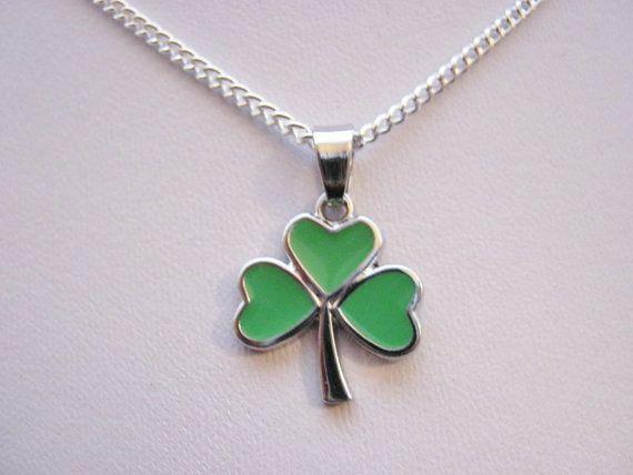Irish Shamrock Pendant Necklace on Silver by JanoushkaJewels