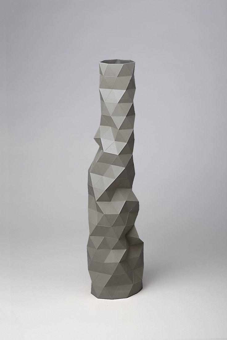 Image of Tall Faceture vase - Dark Grey