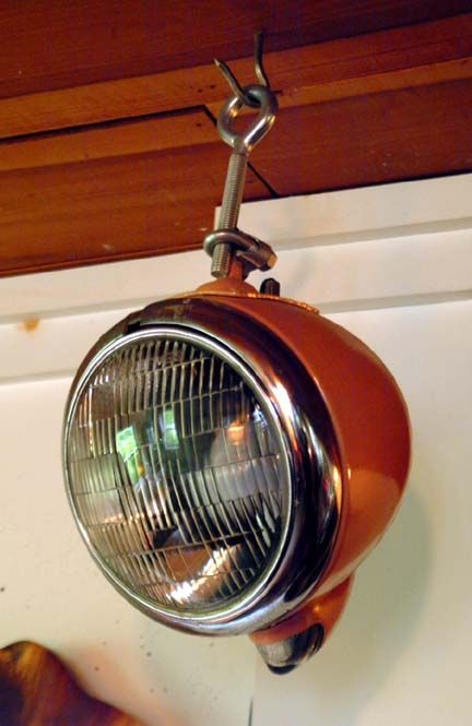neat industrial lighting idea Auto Parts Furniture available at Tatted Picker Etsy www.TattedPicker.com