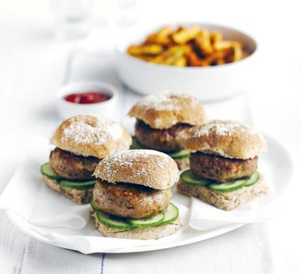 Turkey thigh mince is a lean but flavoursome meat- shape into patties with cheese and spring onions, and serve in healthier wholemeal buns