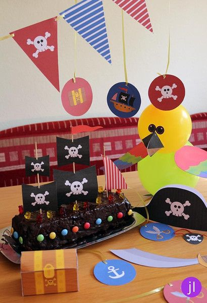 """PDF - Bastelset """"Piraten-Party-Deko"""" von Jessica Lorenz Design auf DaWanda.com"""