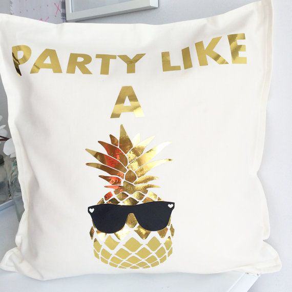 This pillow is the definition of fun!!! gold metallic pineapple with black sunglasses is heat transfer material on 100% cotton pillow cover.