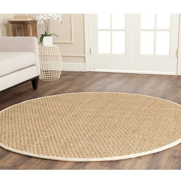 Safavieh Casual Natural Fiber Natural and Ivory Border Seagrass Rug ($86) ❤ liked on Polyvore featuring home, rugs, border rug, safavieh area rugs, safavieh rugs, natural fiber area rugs and seagrass rugs
