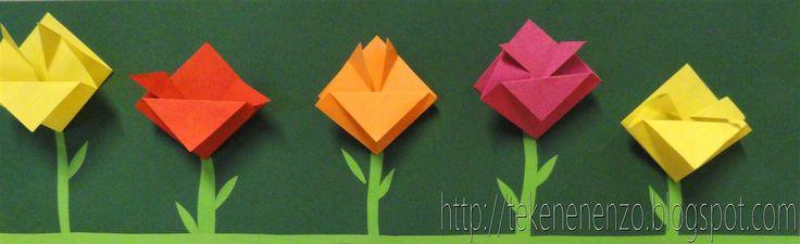Tulpen vouwen. Beschrijving: http://tekenenenzo.blogspot.nl/search/label/lente