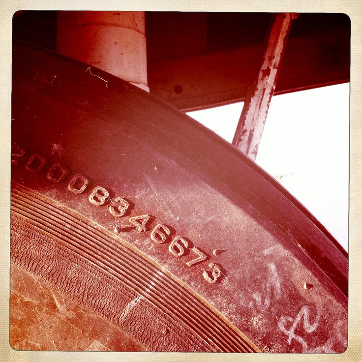This was shot at Coolidge Municipal Airport in Arizona. I went around looking for fonts everywhere: airplanes, tires, cargo trucks, pavement, machinery, etc. I love how the daily use and the passage of time have made all these fonts look kind of grungy. The already existing textures (rust, crackles, etc) plus the photo filters of Hipstamatic work perfectly.