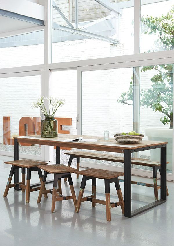 Not only visually eye catching, The Look dining table's rustic teak wood texture combined with the rich patina of smooth patches of paint is a tactile experience as well. Brushed iron legs and bases, along with a modern squared shape, create an understated yet strong and enduring character.  #hunterfurniture #furniturehunters #dinnerparty #benchseats