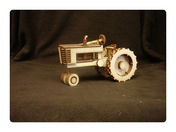 Laser-Cut Wooden Tractor Kit