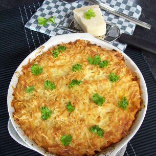 Pastagratäng med chorizo och rostad paprikasås