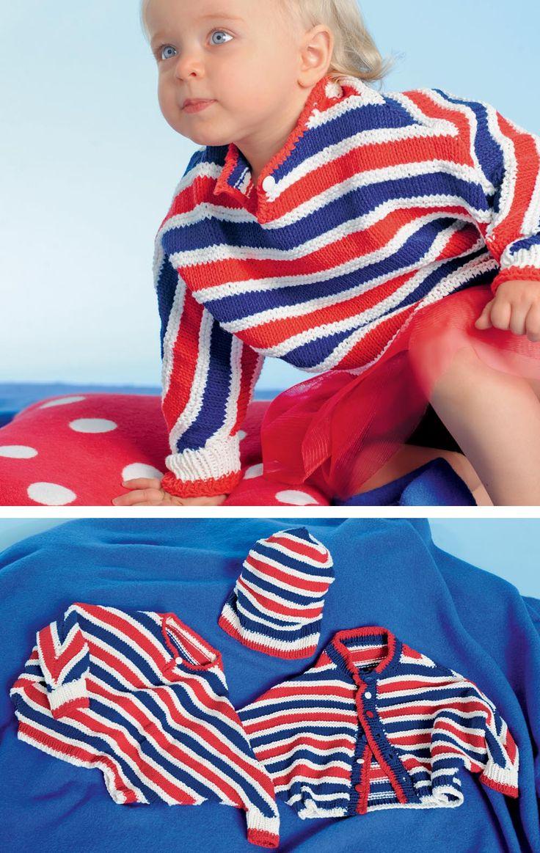 Полосатый пуловер на пуговице Широкий покрой этого пуловера не будет стеснять движений малыша, а яркие цвета модели как нельзя лучше подойдут маленькому непоседе. Дополнить наряд можно простой шапочкой в полоску.Полное описание!
